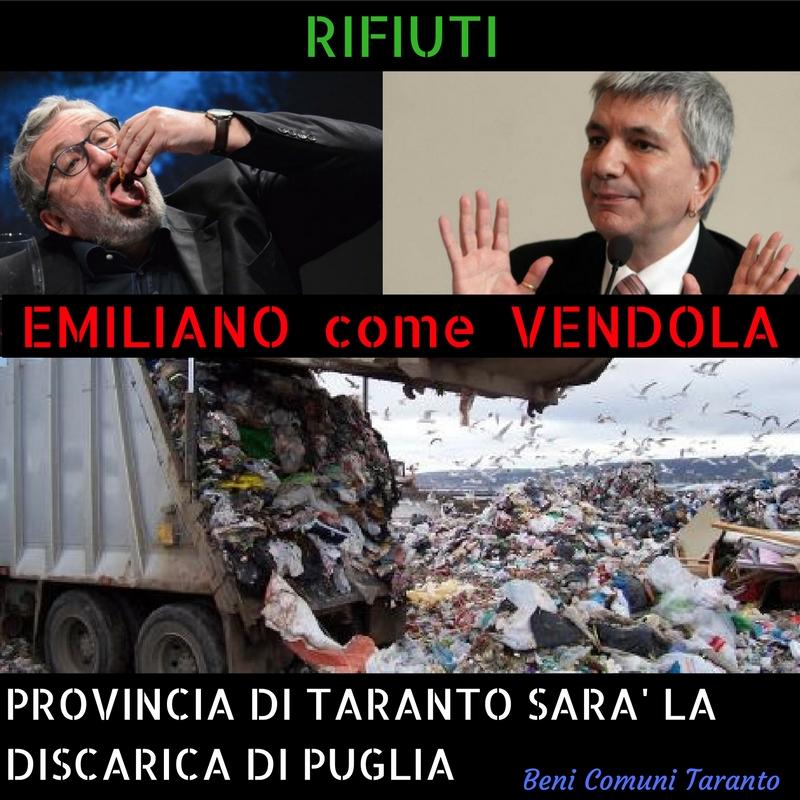 Rifiuti: La Regione calpesta e umilia la provincia di Taranto, oltre al danno labeffa!